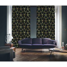 Art Deco No:7 Black Background-Gold Light 2 Panel Curtain