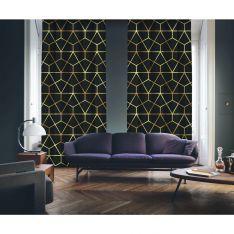 Art Deco No:7 Siyah Zemin-Altın Işığı 2 Kanat Fon Perde
