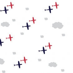 White Pattern Airplanes Wall Paper