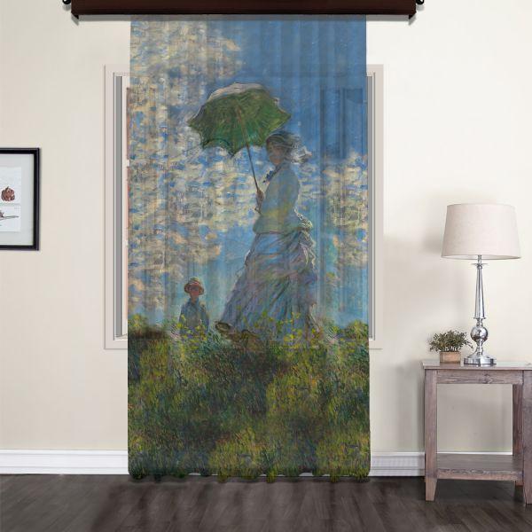 Claude Monet - Güneş Şemsiyeli Kadın Tül Perde