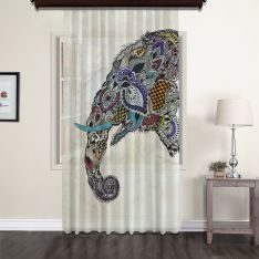 Ethnic Elephant Figured Tulle Curtain