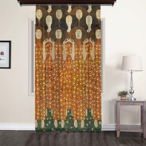 Gustav Klimt - Beethoven Friz (Detay) Tül Perde