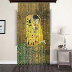 Gustav Klimt - Öpücük Tül Perde 300 CM Outlet Ürün