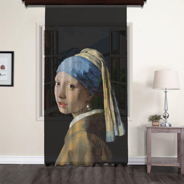 Johannes Vermeer - İnci Küpeli Kız Tül Perde