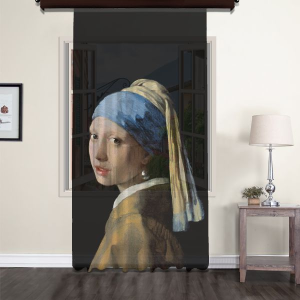 Johannes Vermeer - İnci Küpeli Kız Tül Perde 200 CM Outlet Ürün
