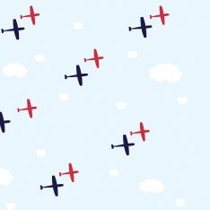 Blue Pattern Airplanes Wall Paper