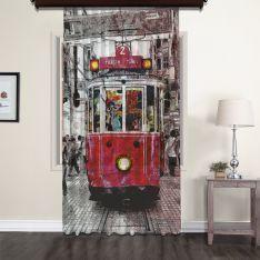 Nostalji Tramway Tül Perde 200 CM Outlet Ürün