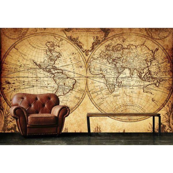 Nostaljik Dünya Haritası Poster Duvar Kağıdı