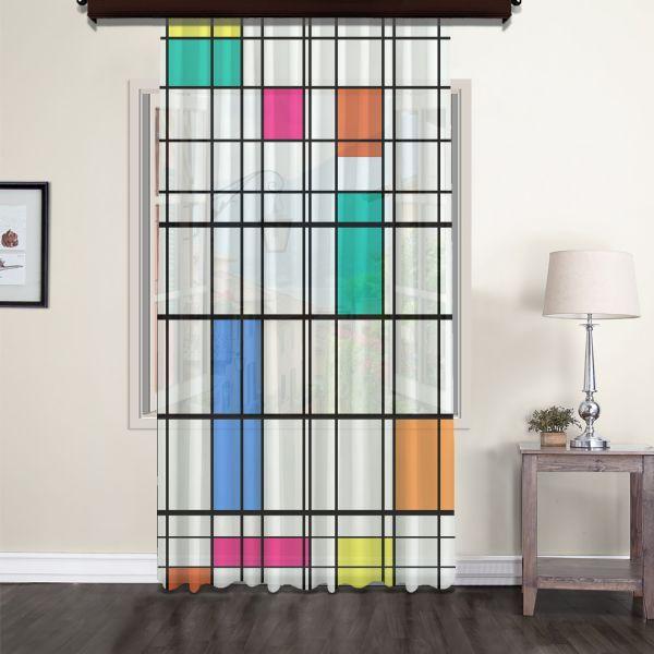 Piet Mondrian - Renk ve Çizgi Tül Perde