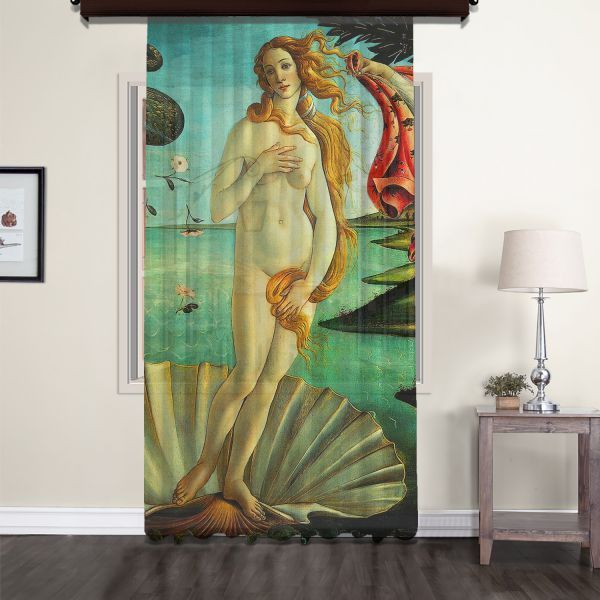 Sandro Botticelli - Venüs'ün Doğuşu Panel 2 Tül Perde