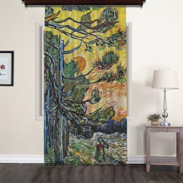 Vincent Van Gogh - Palmiye ağaçları Tül Perde
