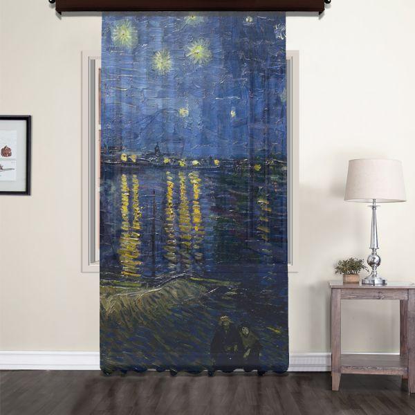 Vincent Van Gogh - Rhone Üzerinde Yıldızlı Gece Tül Perde