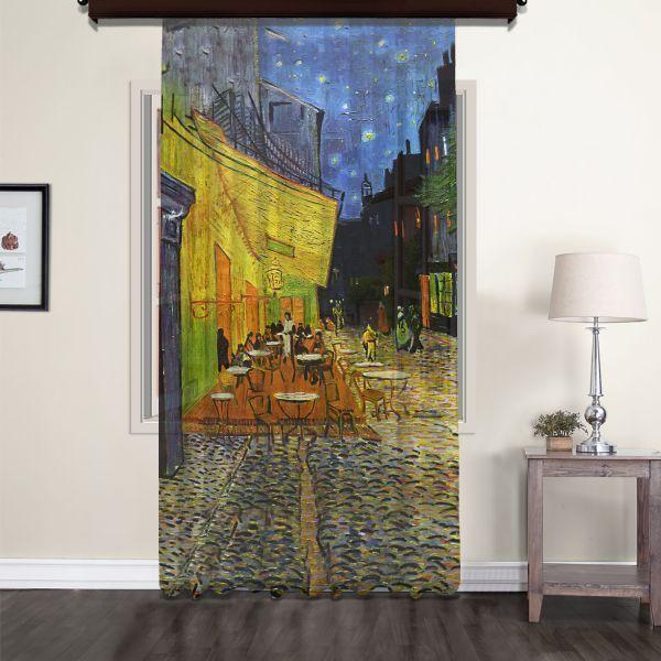 Vincent Van Gogh - Teras Kafe Tül Perde 220 CM Outlet Ürün