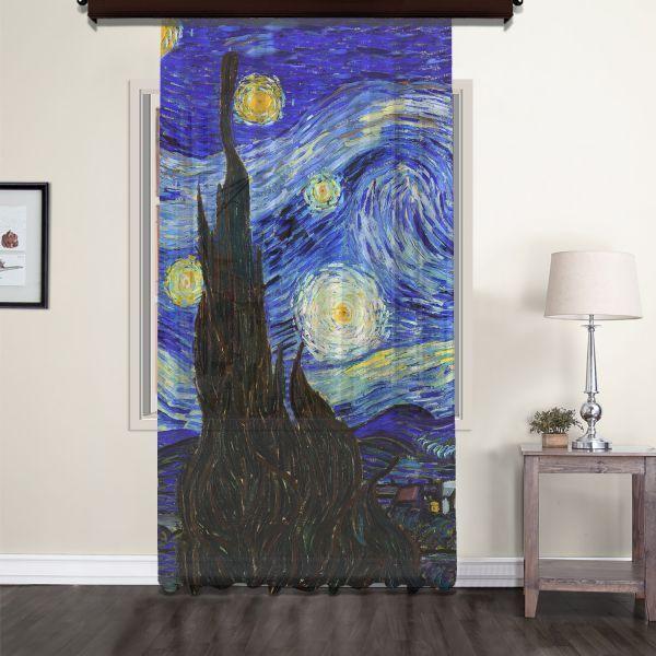 Vincent Van Gogh - Yıldızlı Gece Panel 1 Tül Perde