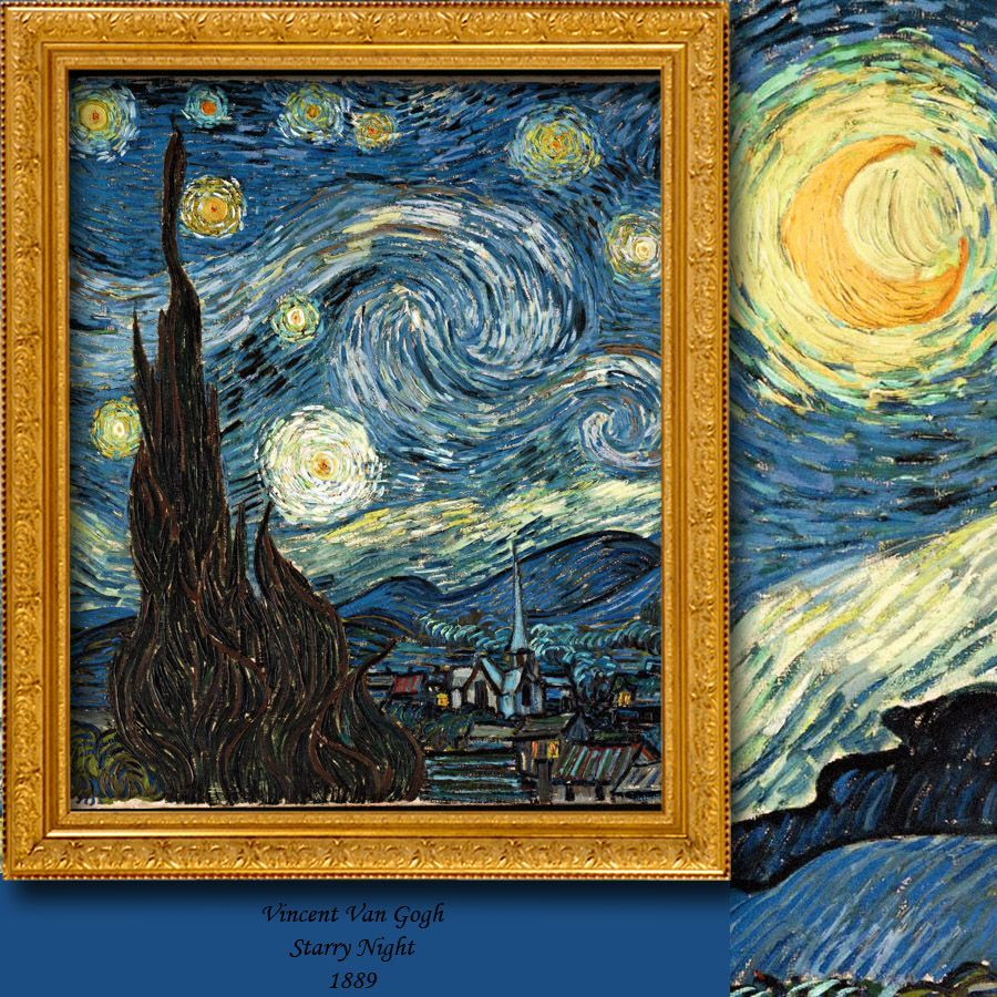 Vincent Van Gogh Starry Night Panel 1 Tulle Curtain