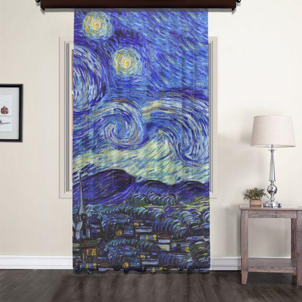 Vincent Van Gogh - Yıldızlı Gece Panel 2 Tül Perde