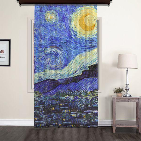 Vincent Van Gogh - Yıldızlı Gece Panel 3 Tül Perde