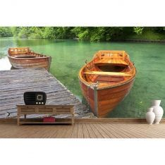 Greenery and Boats Poster Wall Paper