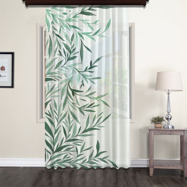 Tints of Olive Tree Tulle Curtain