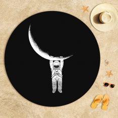 Moon and Astronaut Beach Towel