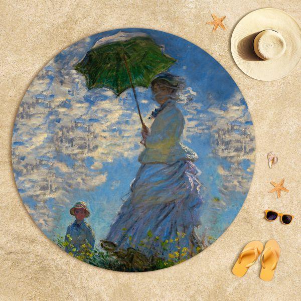 Claude Monet - Güneş Şemsiyeli Kadın Plaj Havlusu