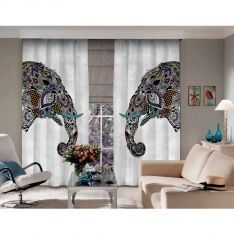 Ethnic Elephant Figure Blackout Curtain