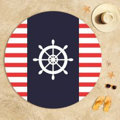 Red-White Rudder Beach Towel