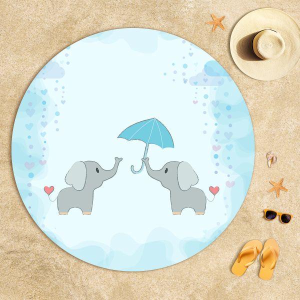 Şemsiyeli Filler Plaj Havlusu