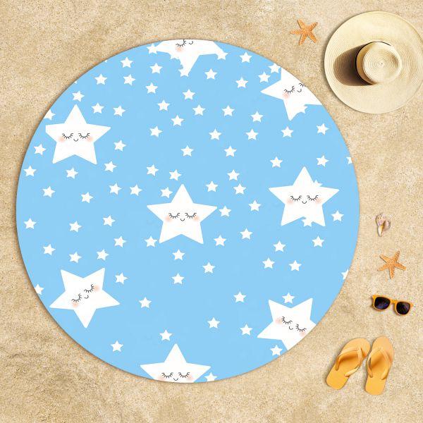 Sevimli Uyuyan Yıldızlar Mavi Plaj Havlusu