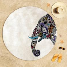 Ethnic Elephant Figured Beach Towel
