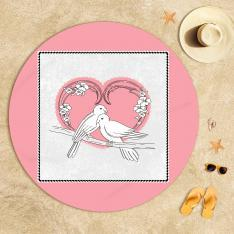 Dove and Pink Heart Beach Towel