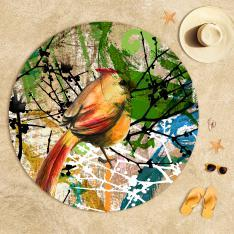 Kuş Desenli Plaj Havlusu