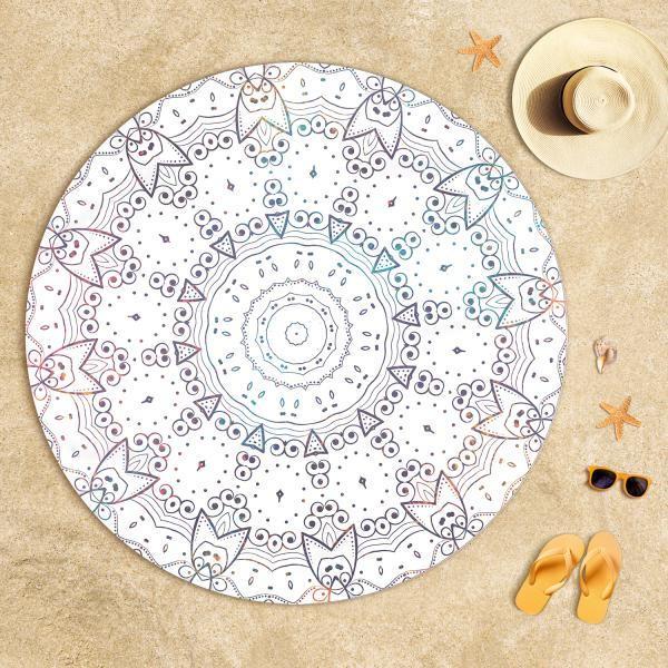 Mandala Desenli Kedi Plaj Havlusu