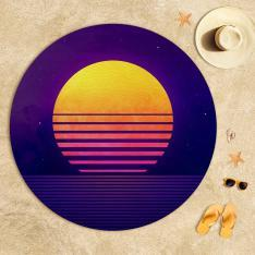 Purple Orange Illustration Beach Towel