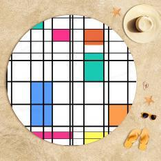 Piet Mondrian - Renk ve Çizgi Plaj Havlusu