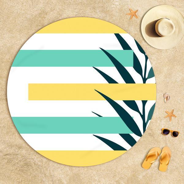 Sarı-Mint Yeşili Yaz Kompozisyonu Plaj Havlusu