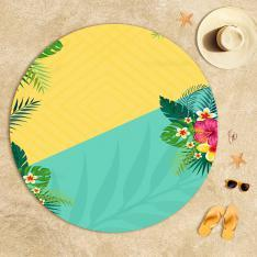 Yellow-Mint Green Summer Flowers Beach Towel