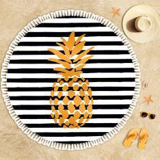 Ananas Desenli Siyah Beyaz Plaj Havlusu