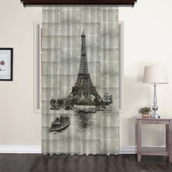 Eiffel Tower Nostalgic Tulle Curtain