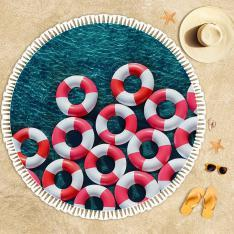 Red White Sea Wheels Beach Towel