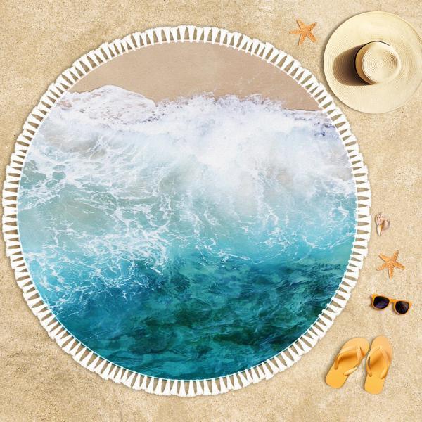 Kıyıya Vuran Dalgalar Plaj Havlusu