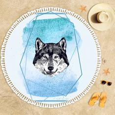 Wolf Illustration Beach Towel