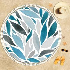 Blue Gray Leaves Beach Towel