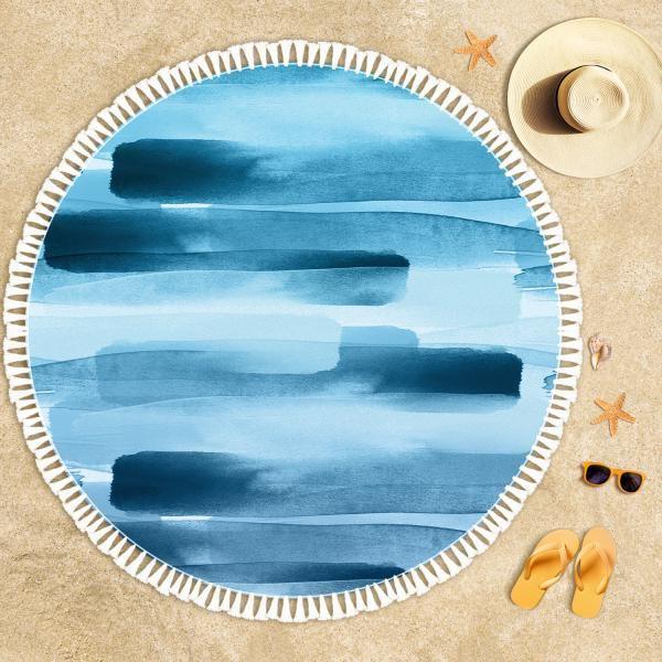 Mavi Lacivert Zemin Plaj Havlusu