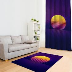 Purple Orange Illustration Printed Carpet