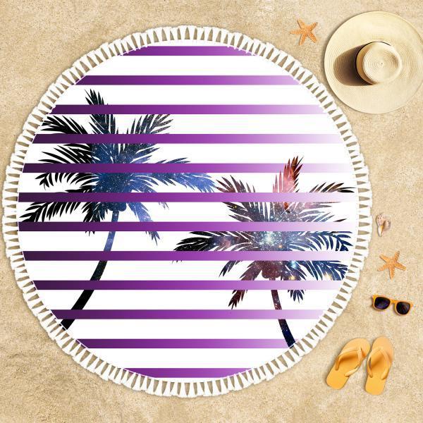 Palmiye Ağaçları ve Uzay Derinliği 2 Plaj Havlusu