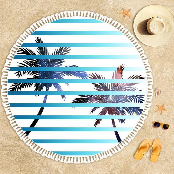 Palmiye Ağaçları ve Uzay Derinliği Plaj Havlusu