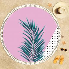 Pink Pattern and Leaves Beach Towel
