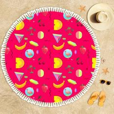 Pink Tropical Pattern Beach Towel