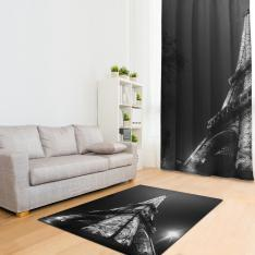 Black White Eiffel Printed Carpet